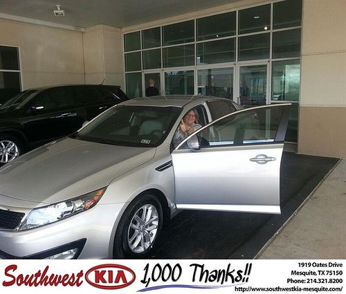 Thank you to Eugenia Welch on the Kia Optima from Kevin Cole and everyone at Southwest Kia Mesquite!