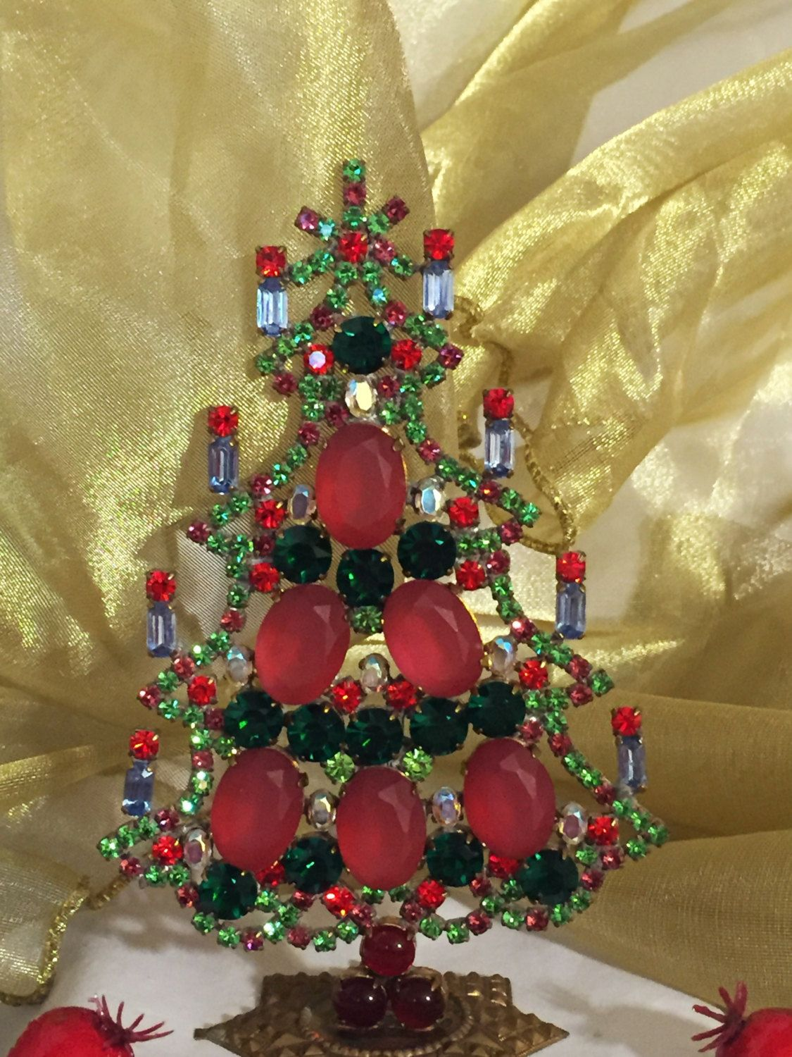 Exceptional Husar D Vintage Czech Crystal and Rhinestone Christmas Tree, Stand up tabletop holiday decoration  #411 by MeAndMoma on Etsy