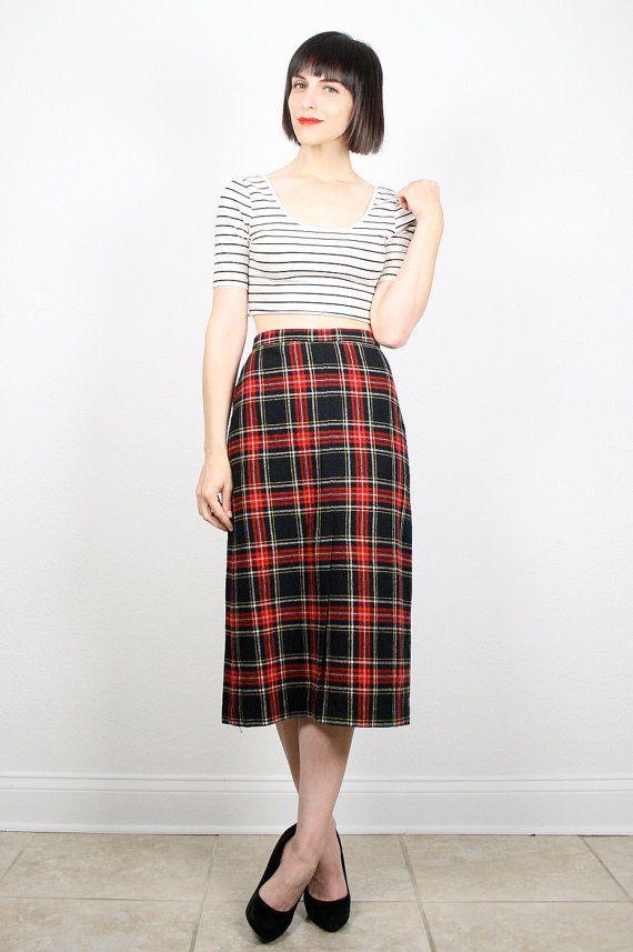 339d3c52ea9e Vintage Red Black Skirt Pencil Skirt High by ShopTwitchVintage #vintage  #etsy #80s #1980s #plaid #skirt #midi #wiggle #tartan #pencilskirt