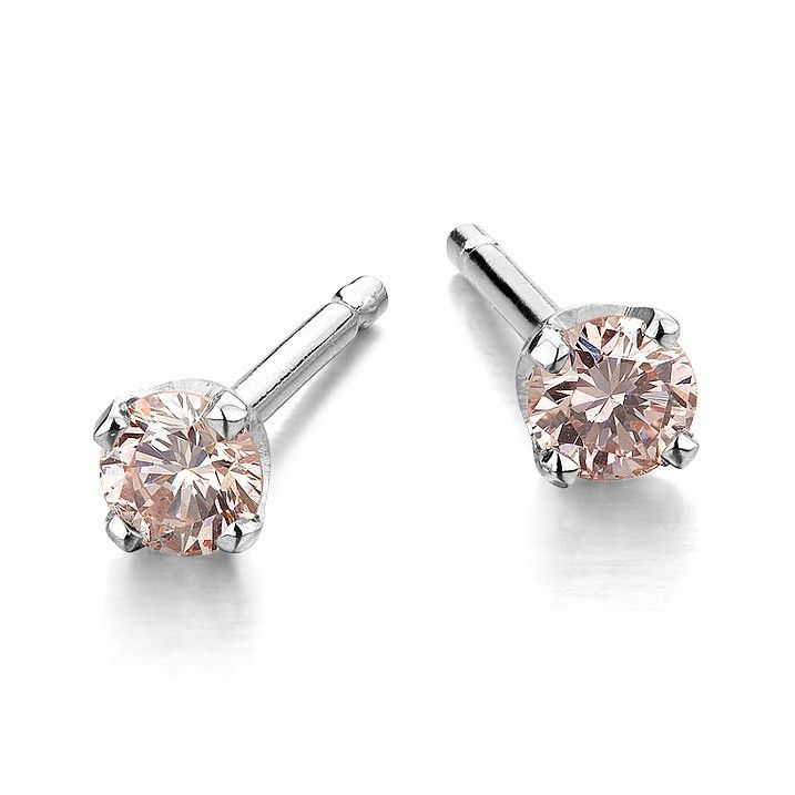 Pink Diamond Studs For Kids Natural Light Diamonds Set In 18 Karat White Gold Earrings