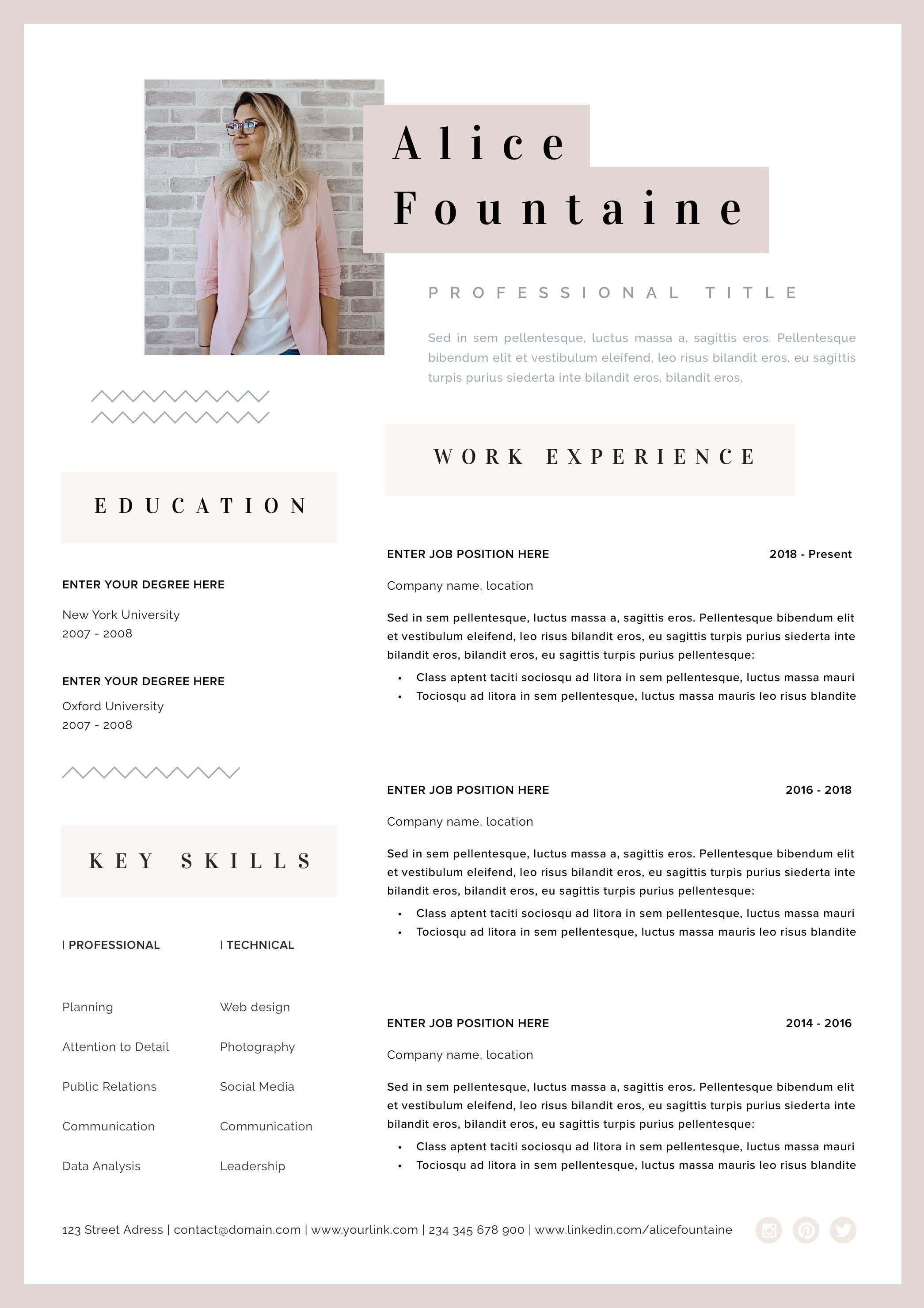 Creative Resume Template Word Pages Instant Download Resume Cv