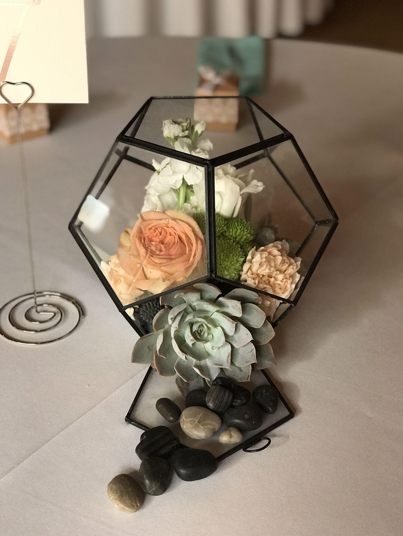 Beautiful terrarium centerpiece with succulents and