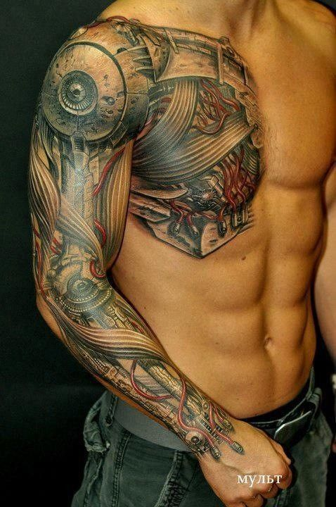 Industrial Synthetic Tattoo Chest Sleeve Ideas Tattoo Tatuajes