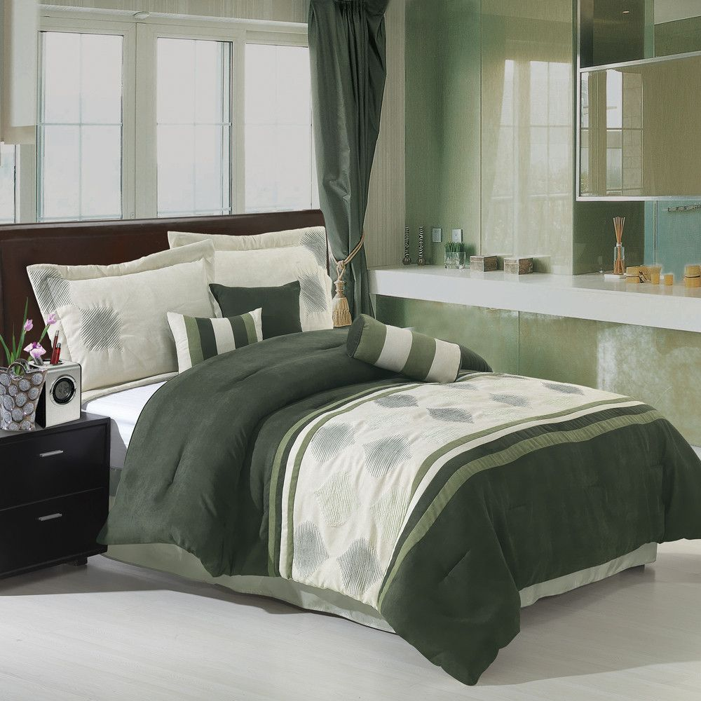 Luxury Micro Suede Bedding Set The Colors Of The Grace Sage 11 Piece Micro Suede Comforter Sets Bed Comforter Sets Green Comforter Sets