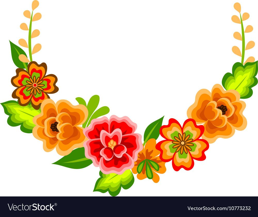 Wreath With Mexican Flowers Vector Image On Vectorstock Flower Wreath Illustration Floral Pattern Vector Wreath Illustration
