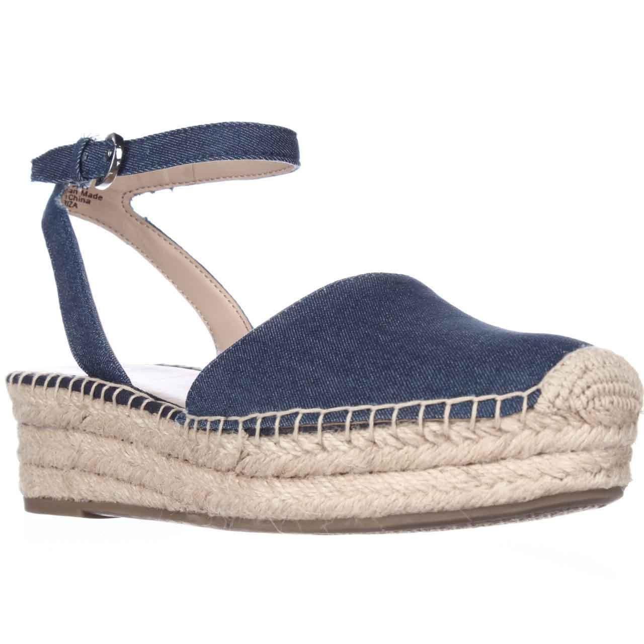 Franco Sarto Lariza Espadrille Wedge Platform Sandals - Blue Jeans