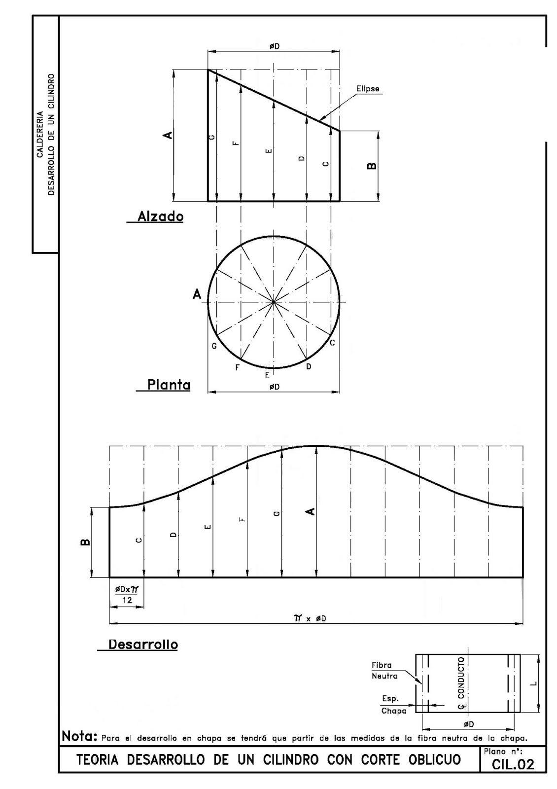 Caldereria Desarrollo De Cilindros Caldereria Geometria Descriptiva Tecnicas De Dibujo