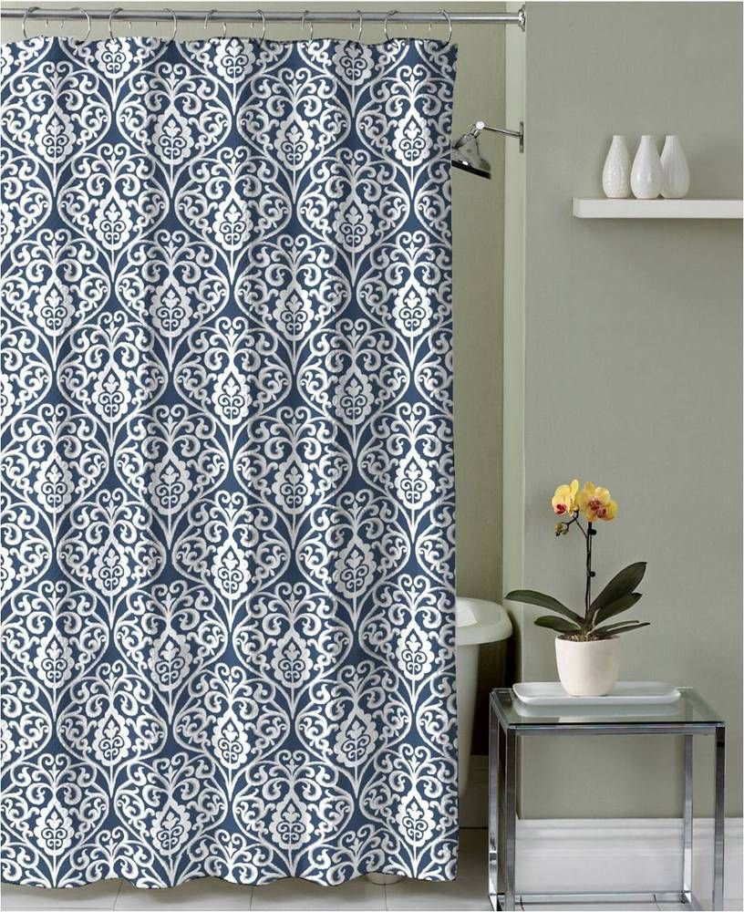 Blue White Floral Damask Fabric Shower Curtain With Hooks Ebay