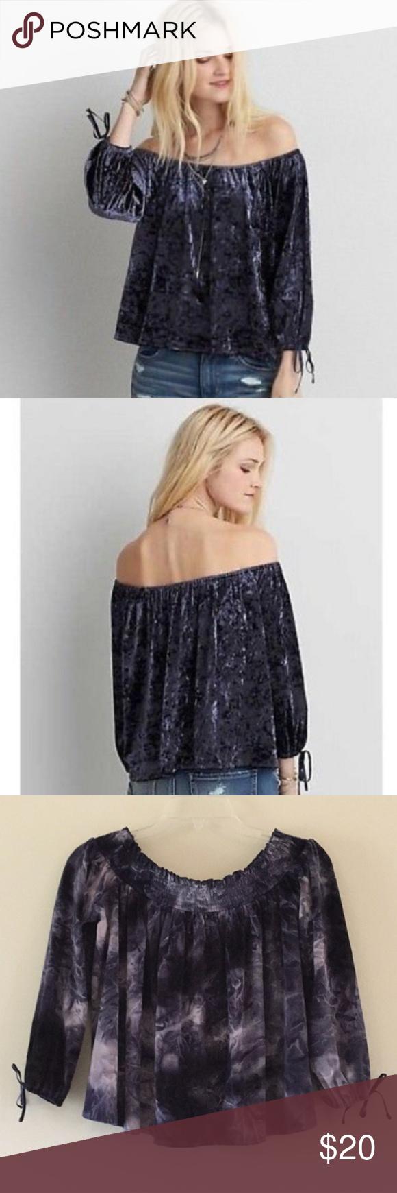 7f6b91beea2a39 NWT American Eagle Crushed Velvet Flirt Shirt - Gorgeous tye-dye Mystic  Blue color -