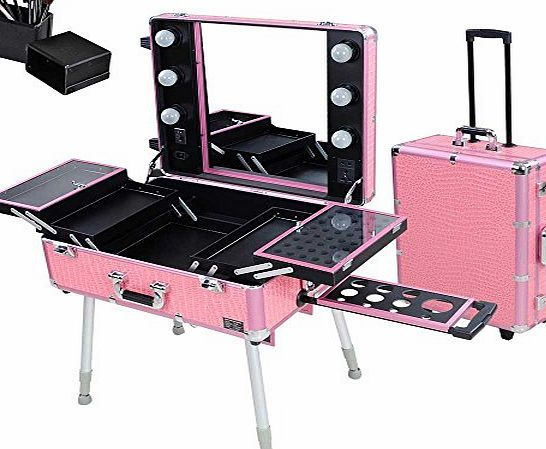 Reasejoy Pro Trolley Cosmetic Train Case With Light Support Mirror Rolling Makeup Box Case Portable O With Images Rolling Makeup Case Makeup Train Case Cosmetic Train Case