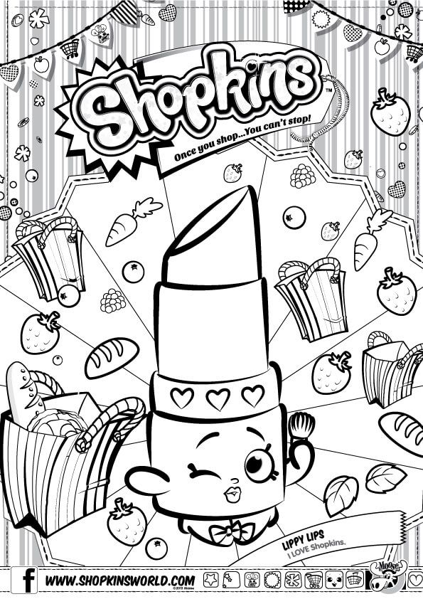 Shopkins Coloring Pages Season 1 Lippy Lip | Kiddos | Pinterest ...