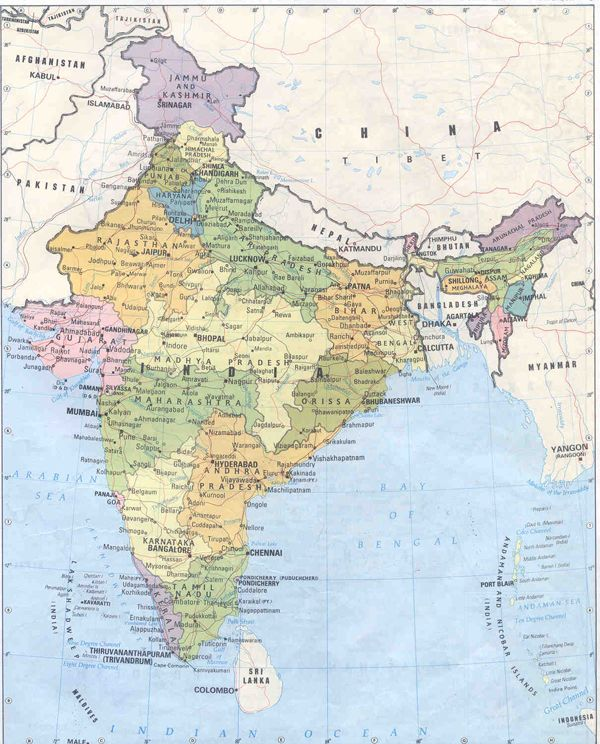 Detailed political and administrative map of India India detailed