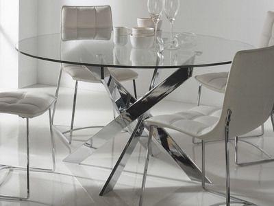 Table à manger ronde en métal et verre trempé york