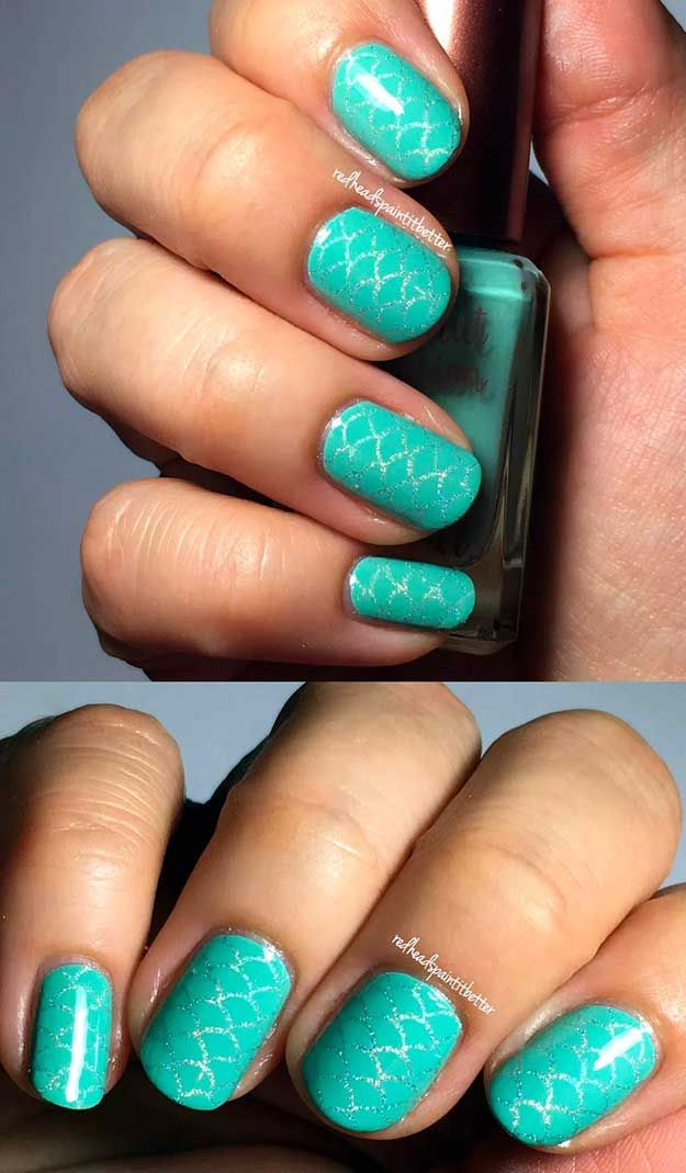 Diy Mermaid Nail Art Manicure Tutorials Summer Beach Nails Beach Nail Designs Diy Beach Nails Mermaid Nail Art