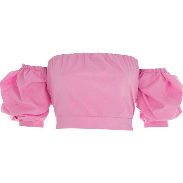 River Island Pink puff sleeve tie back bardot crop top ($52) ❤ liked on Polyvore featuring tops, pink, crop tops / bralets, women, short crop tops, back to the top, bralette crop top, puff sleeve crop top and tie top