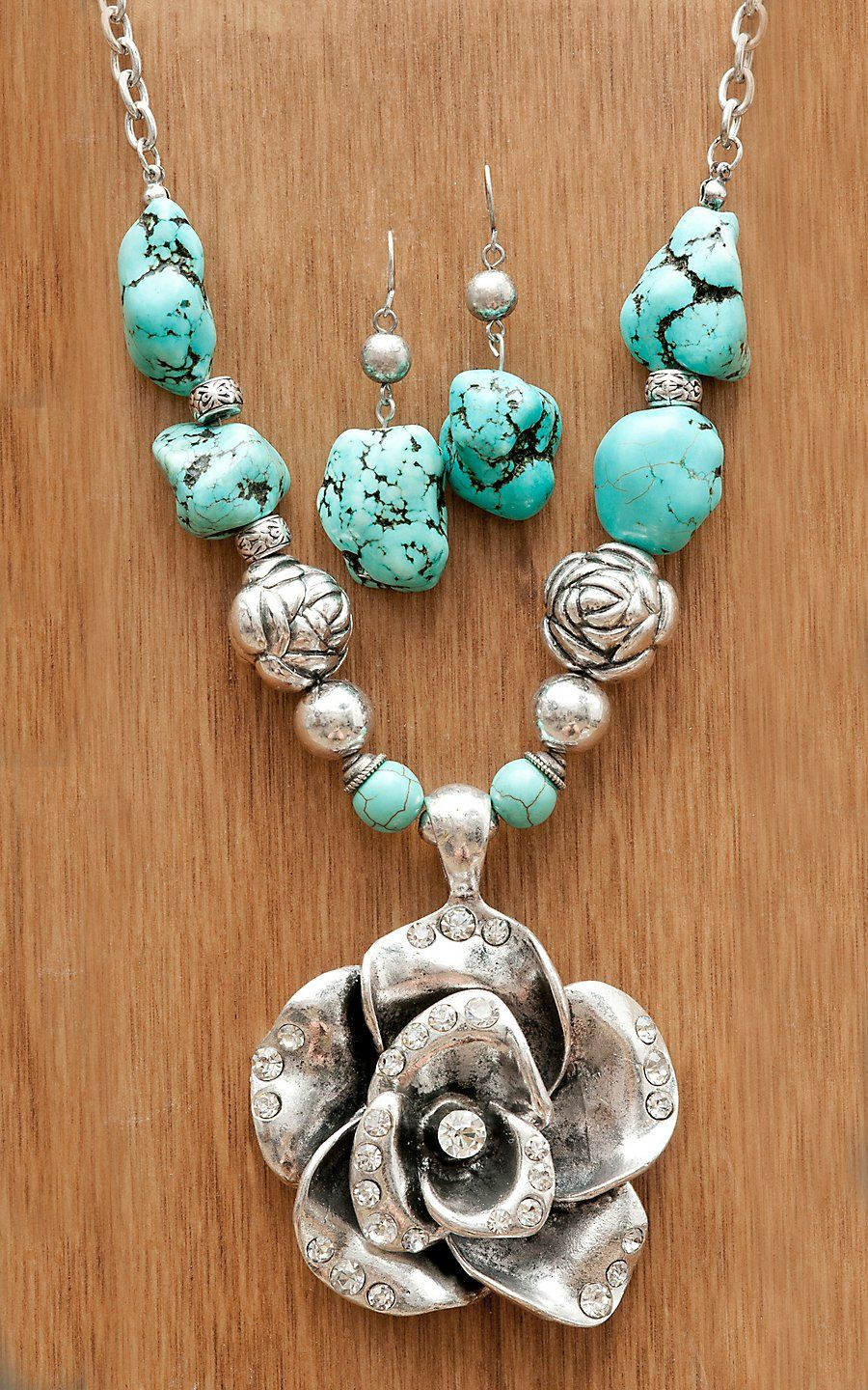 Wear N.E. Wear® Large Silver Rose w/ Silver Beads & Turquoise Jewelry Set | Cavender's