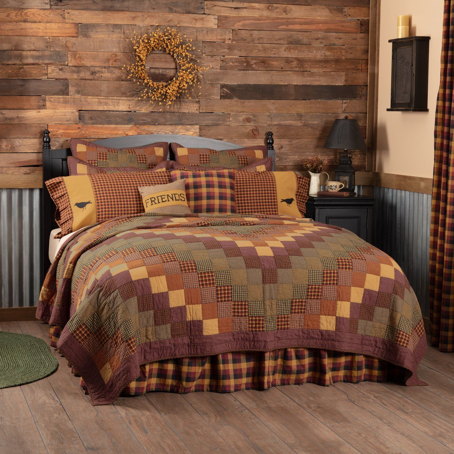Deep Red VHC Brands Primitive Bedding Antique Patch Cotton Pre-Washed Patchwork California King Quilt