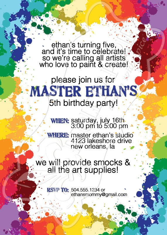 Paint Splatters Art Party Birthday Invitation Creole Paperie