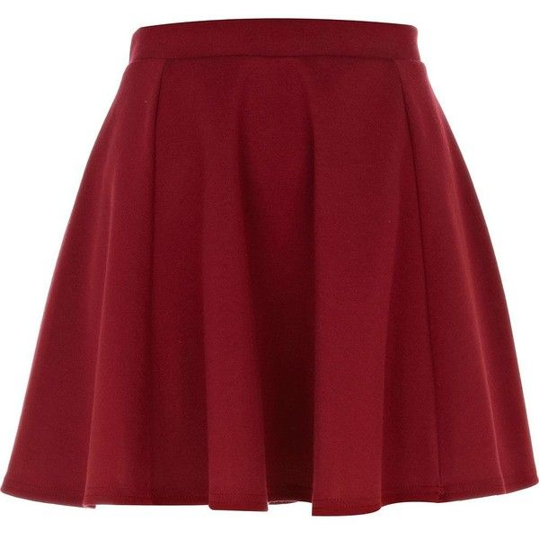 River Island Dark Red Ponti Skater Skirt (1.050 RUB) ❤ liked on Polyvore featuring skirts, bottoms, saias, jupes, red, river island, circle skirt, dark red skirt, red knee length skirt and flared skirt