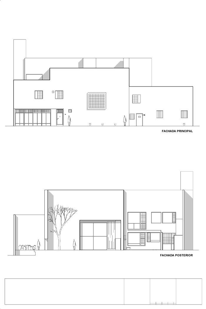 Casa estudio luis barrag n plano de las fachadas foto for Casa moderna restaurante salta
