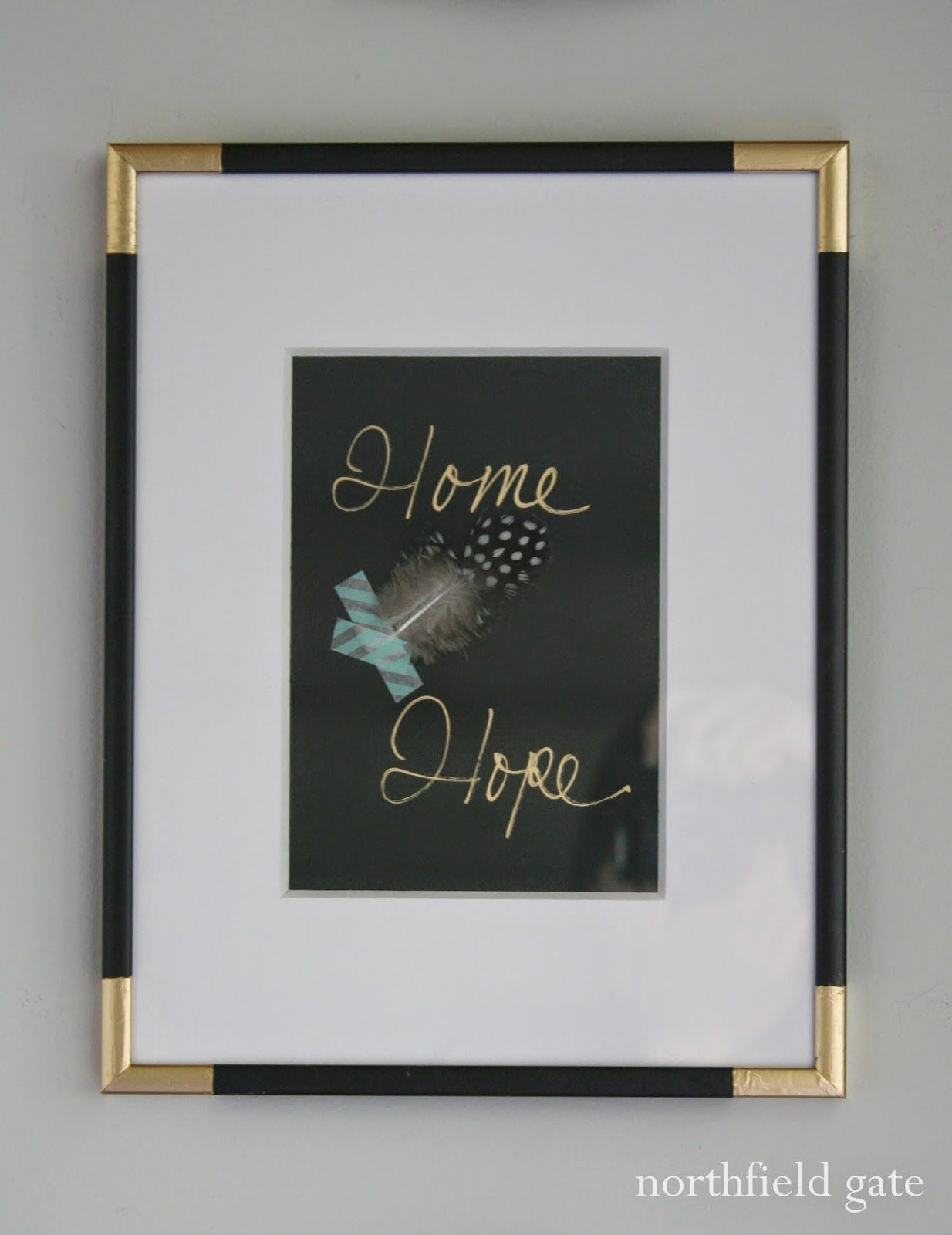 use painters tape and gold spraypaint (or a gold marker as this ...