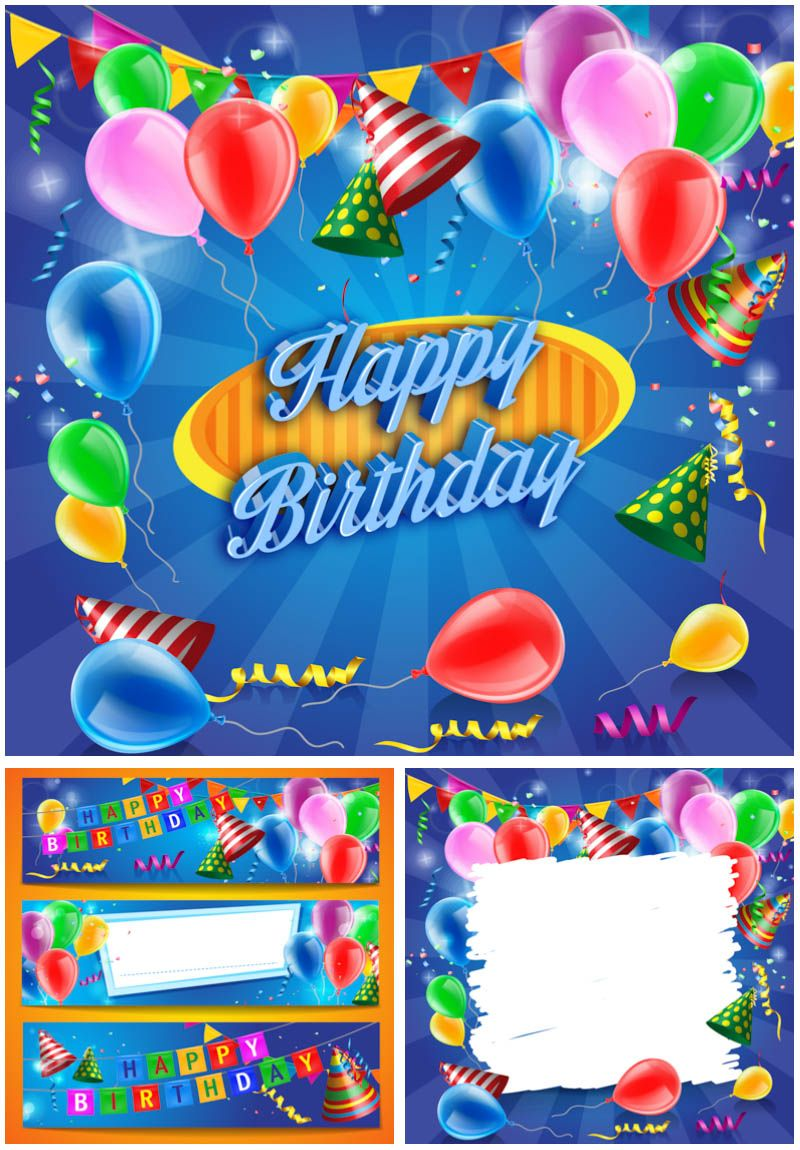 Set of vector happy birthday graphic templates of backgrounds