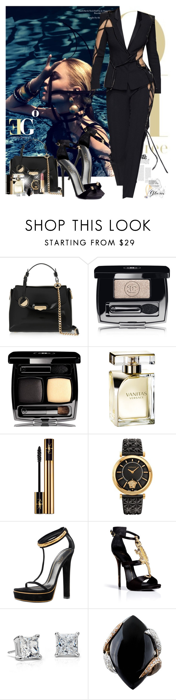 """""""Monday in my world"""" by eleonoragocevska ❤ liked on Polyvore featuring Versace, Chanel, Yves Saint Laurent, Giuseppe Zanotti, Gucci, Sergio Rossi, Blue Nile and Luca Carati"""