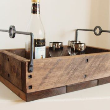 Reclaimed Wood Serving Tray Storage Box Candle Holder Wine Beer Holder  Christmas Decor Forged Iron Handles