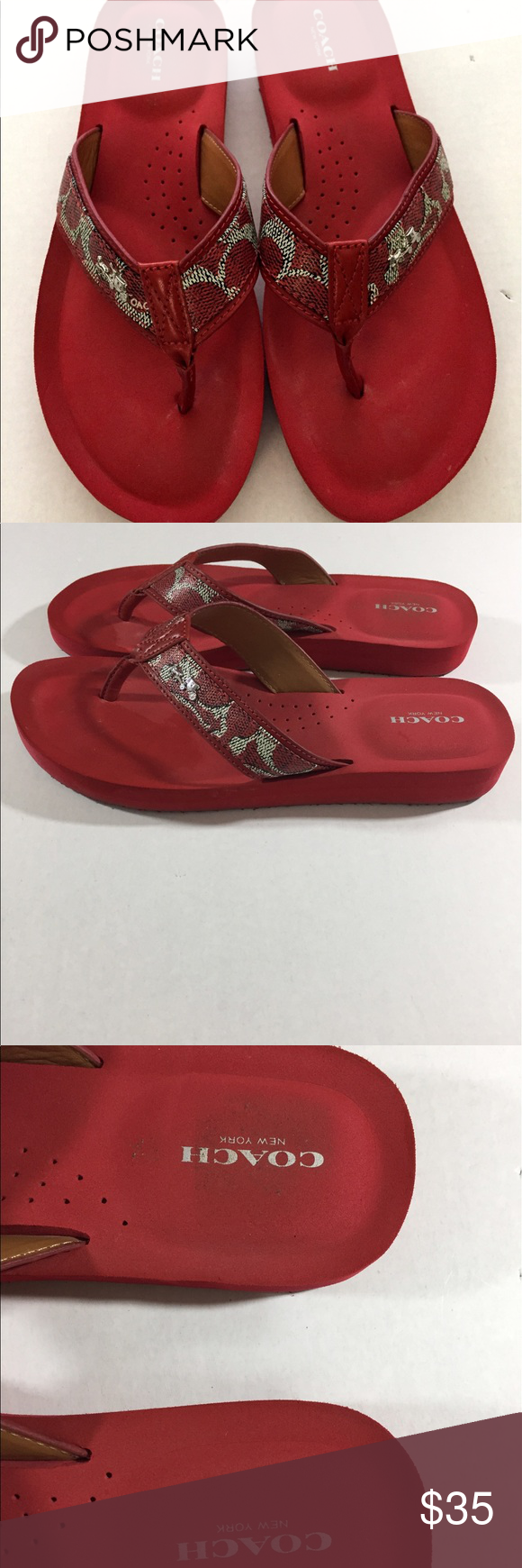272ed02f8 Coach Women s Red Flip Flop Slides Size 9.5 B Pre-Owned gently used Red  Coach Flip Flop Slides Size 9.5 B Coach Shoes Slippers