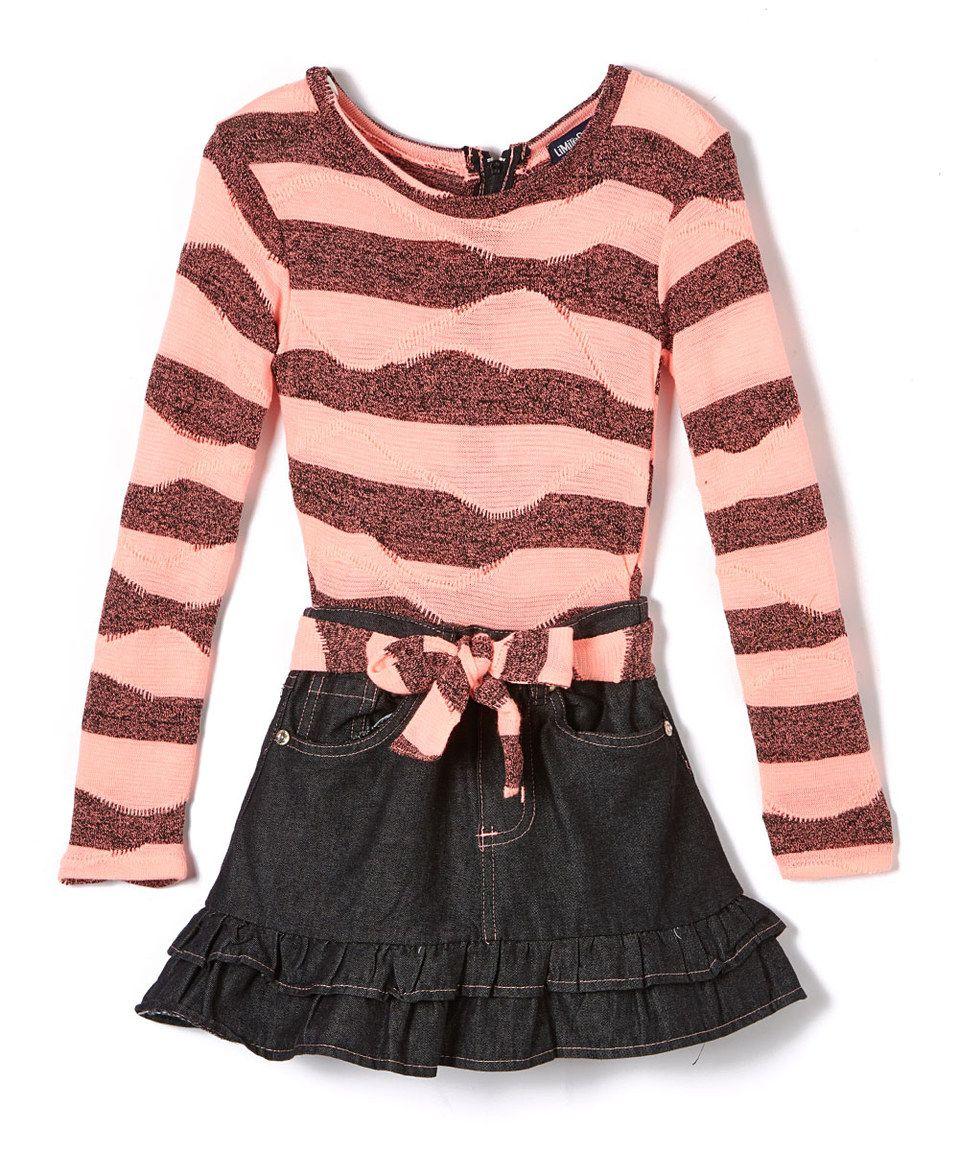 Loving this coral stripe longsleeve dress toddler u girls on