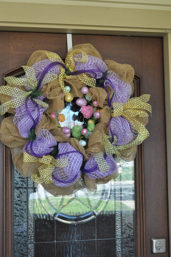 Deco Mesh Spring Wreath by SouthernGraceTexas on Etsy, $110.00