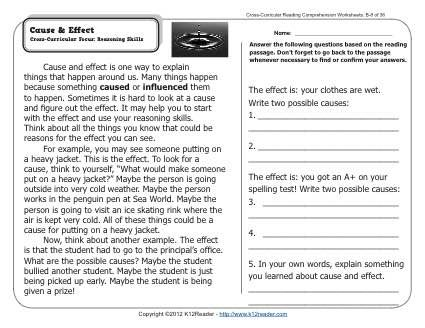 Cause & Effect | Reading comprehension passages, Cross curricular ...