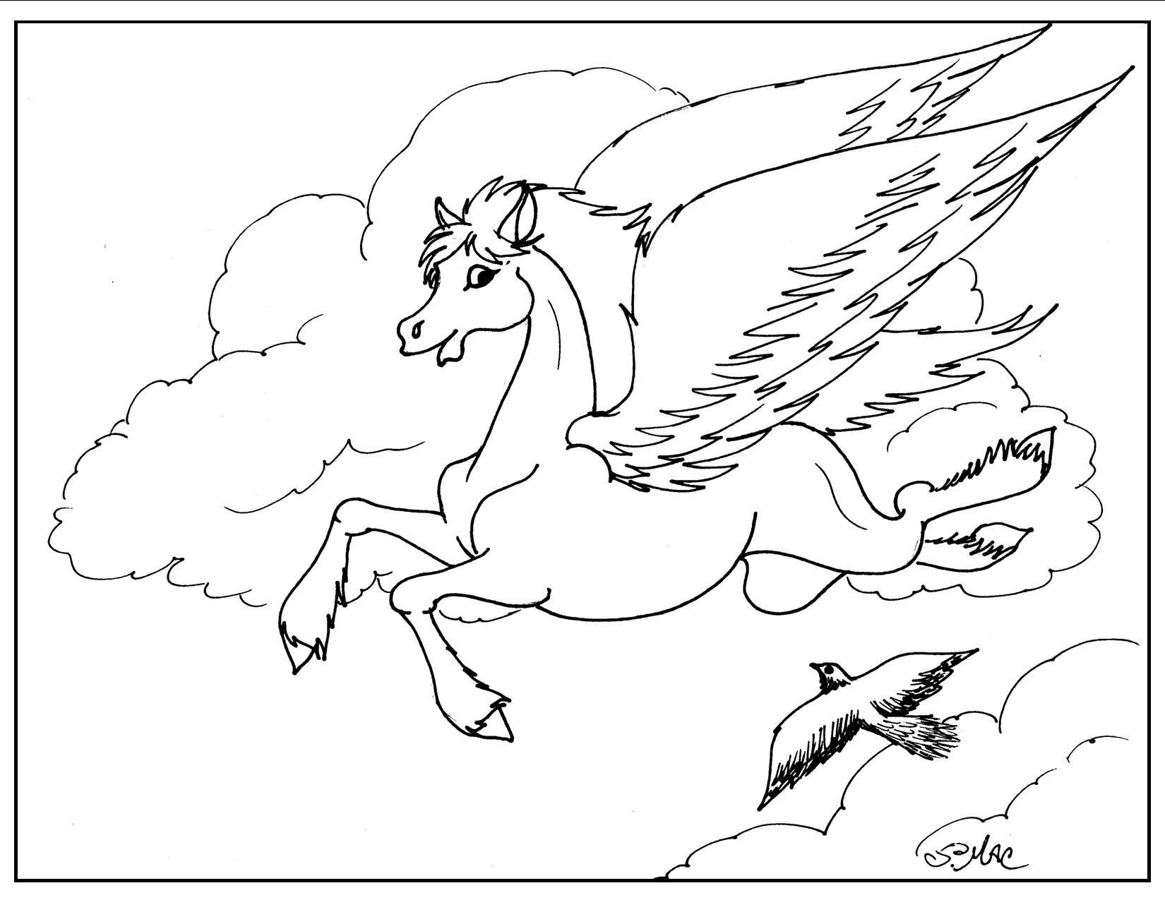 Pegasus Coloring Page Bird coloring pages, Coloring