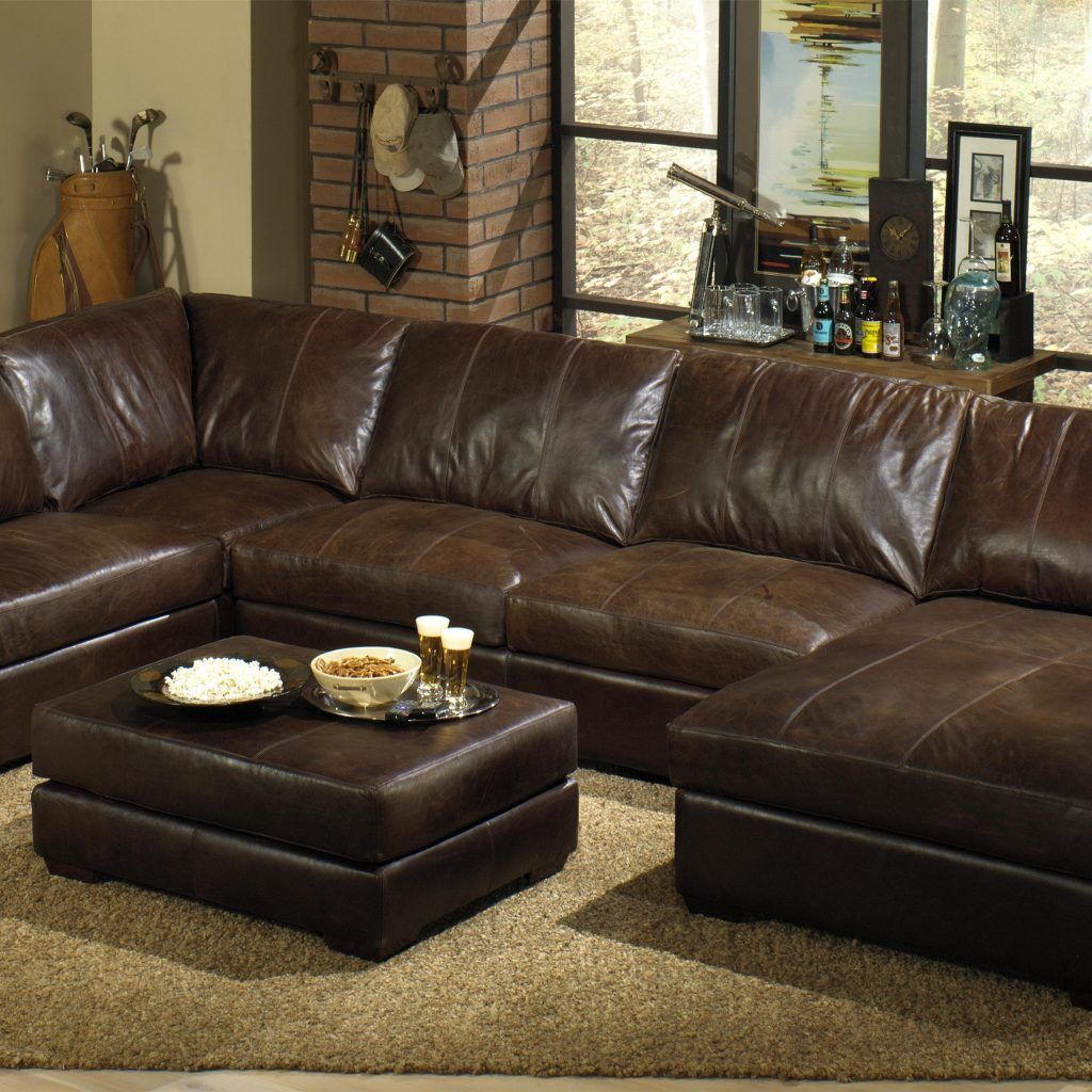 Genuine Leather Sectional Sleeper Sofa | Living room | Leather couch ...