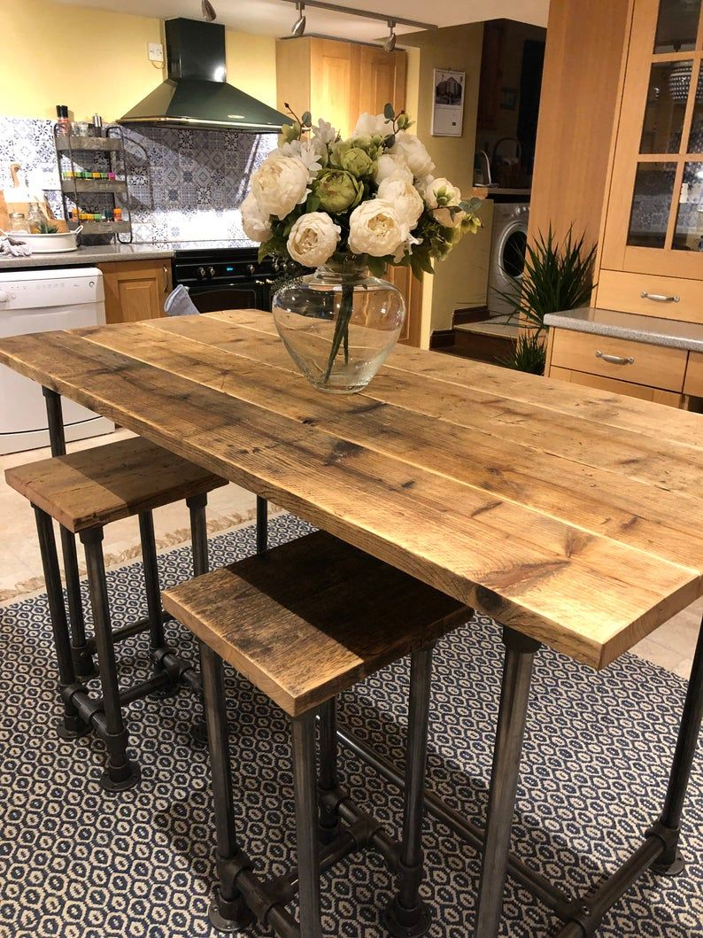 Scaffold Tube Rustic Bar Height Table made from Reclaimed   Etsy ...