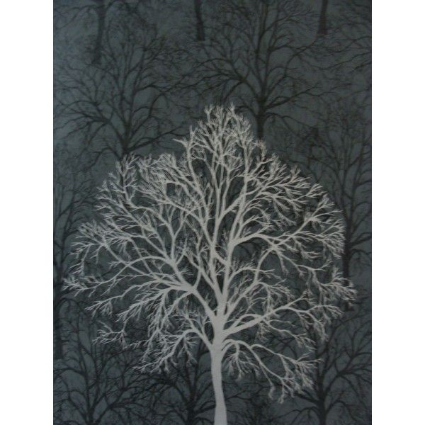 Black with silver trees