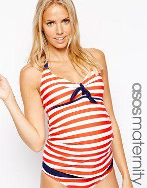 4e89fee23 ASOS Maternity Exclusive Swimwear Set In Stripe With Contrast Red Maternity  Swimwear