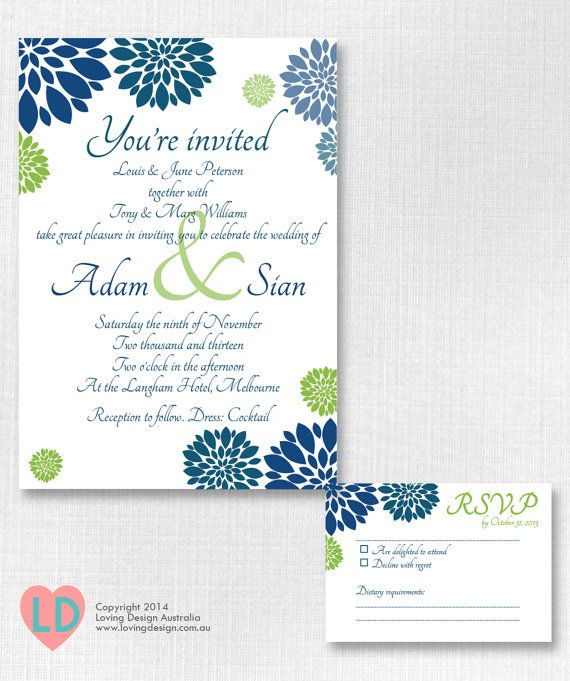 Printable Modern Navy Blue And Green Wedding Invitation By