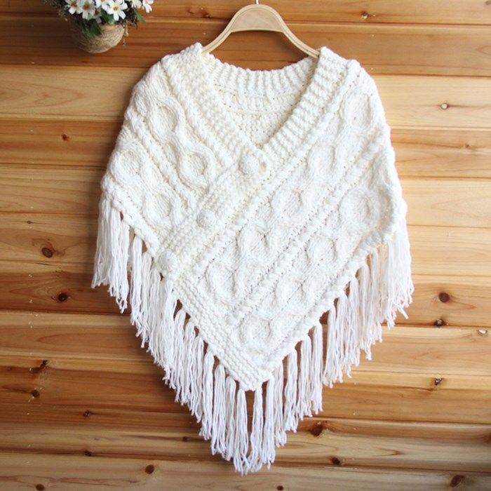 Female-tassel-yarn-knitted-cloak-cape-font-b-handmade-b-font-knitted ...