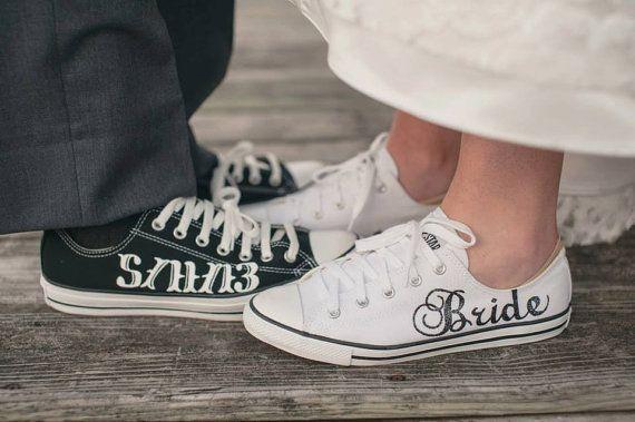 MADE TO ORDER Bride & Groom Wedding Converse Wedding  Wedding