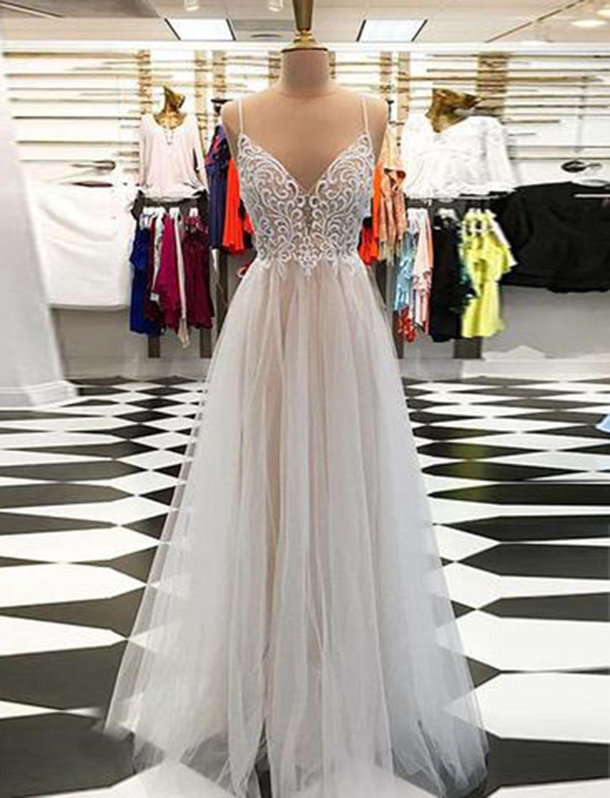 Light gray tulle spaghetti straps open back long v neck prom dress