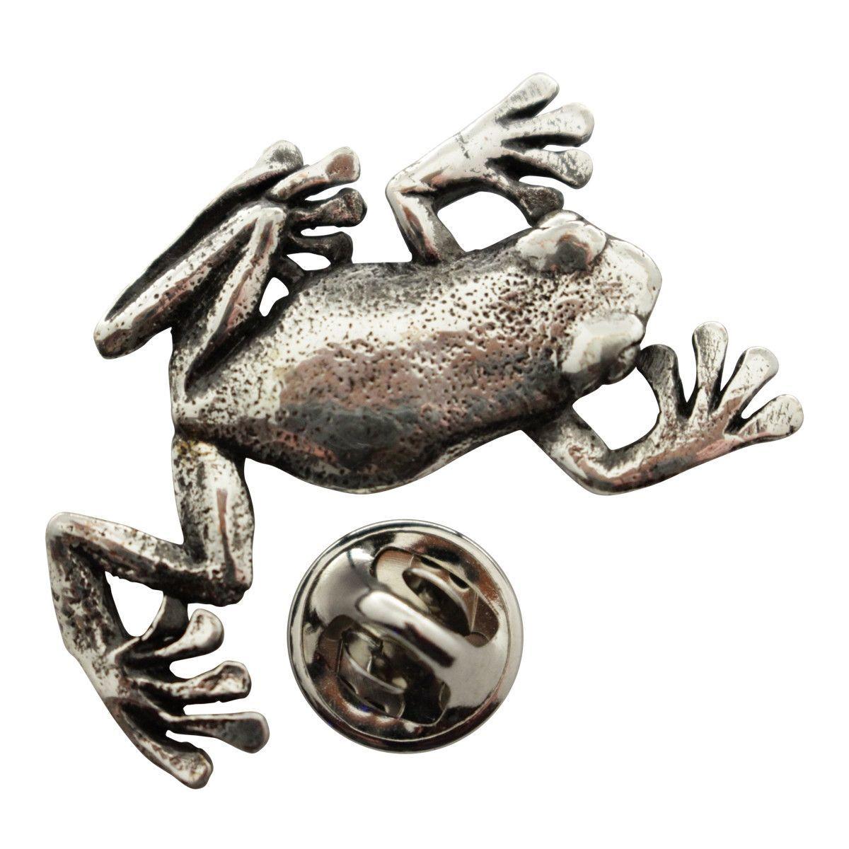 Climbing Tree Frog Pin ~ Antiqued Pewter ~ Lapel Pin