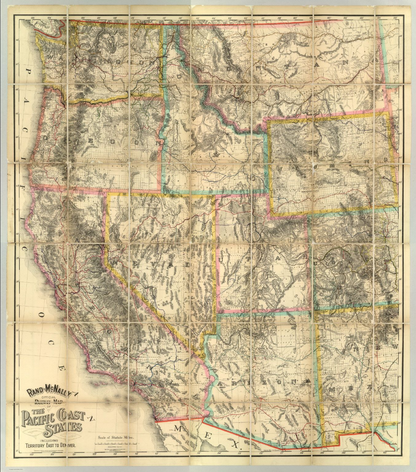 Rand McNally Official Railway Map Of The Pacific Coast States