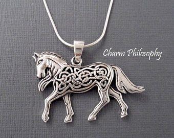 Celtic horse necklace celtic knot animal jewelry 925 sterling celtic horse necklace celtic knot animal jewelry 925 sterling silver jewelry large horse pendant aloadofball Images