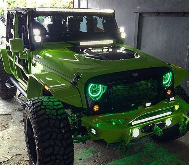 Green With Green Lights And Led Lights Custom Jeep Wrangler Green Jeep Dream Cars Jeep