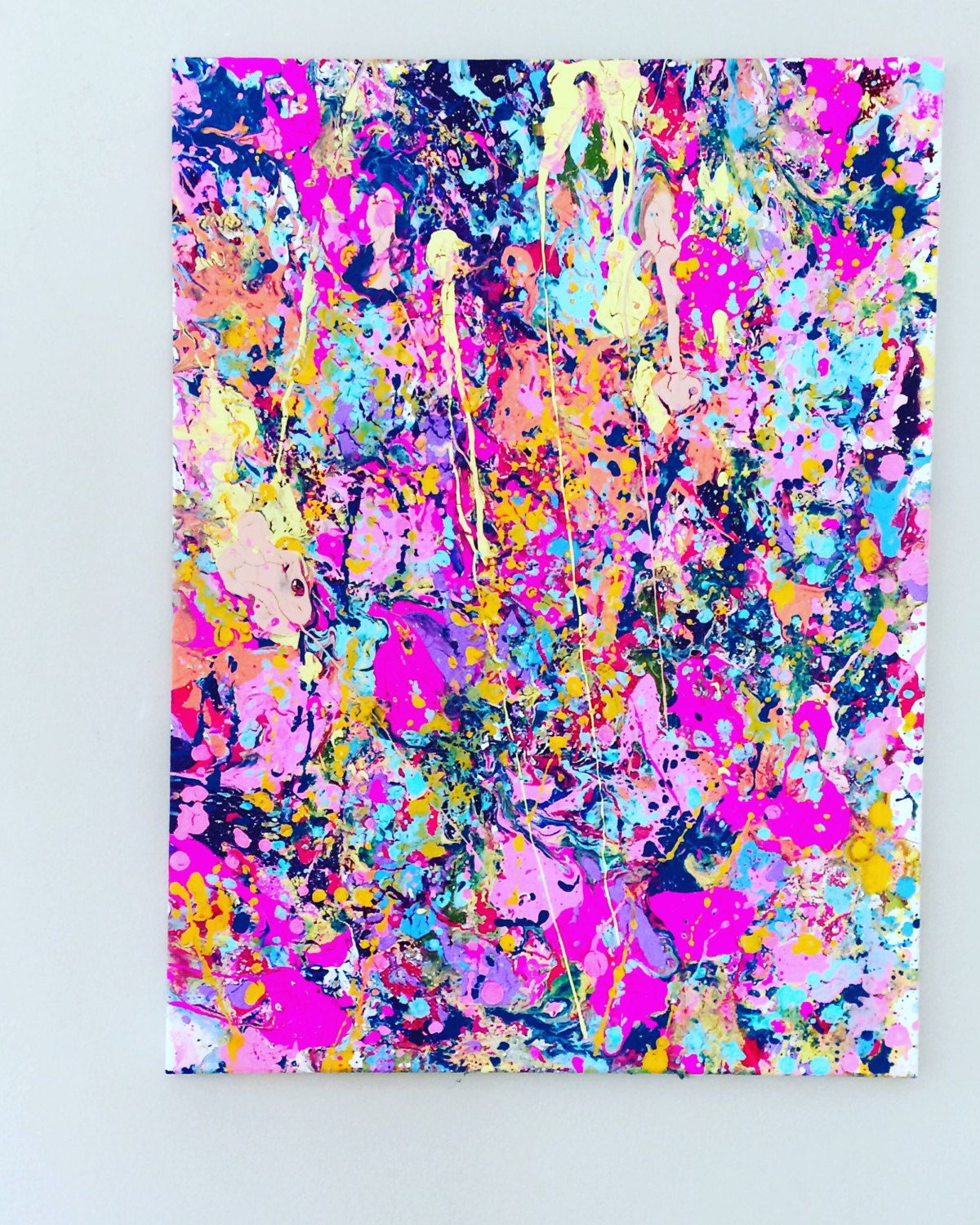 Big Canvas Art Modern Watercolor Abstract Ink Splash Big: Splatter Pink Art Abstract Painting Large Acrylic Art