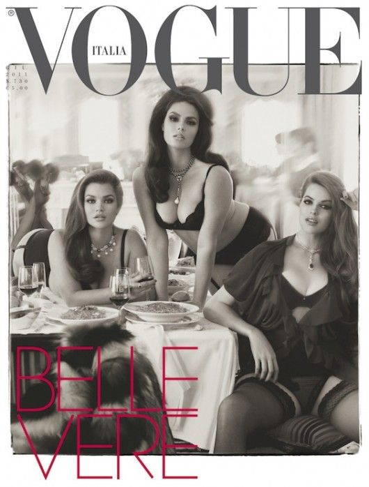 Love it! Thank you Italy for recognizing all beauty. The women in this cover for Vogue Italia are all a size 12/14/16; and gorgeous