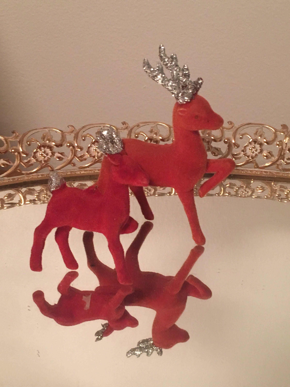 vintage christmas reindeer glitter antlers reddish brown deer holiday decor set of 2 by vintagelove50 on - Christmas Reindeer 2