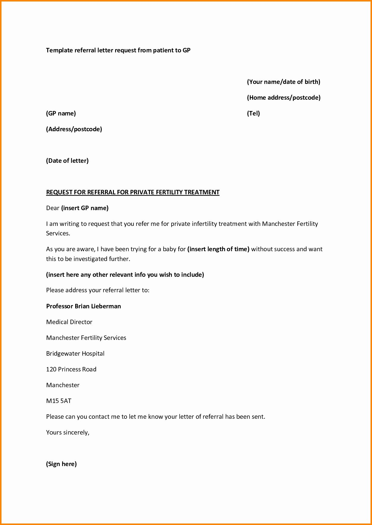 Physician Referral Form Template Lovely Medical Referral Letter Template Microsoft Word Referral Letter Lettering Doctors Note Template