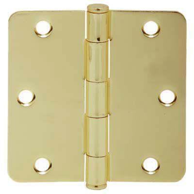 """Schlage 1012 3.5"""" x 3.5"""" Plain Bearing 1/4"""" Radius Corner Mortise Hinge - Pack o Polished Brass Door Hinge Plain Bearing 3 1/2 x 3 1/2"""